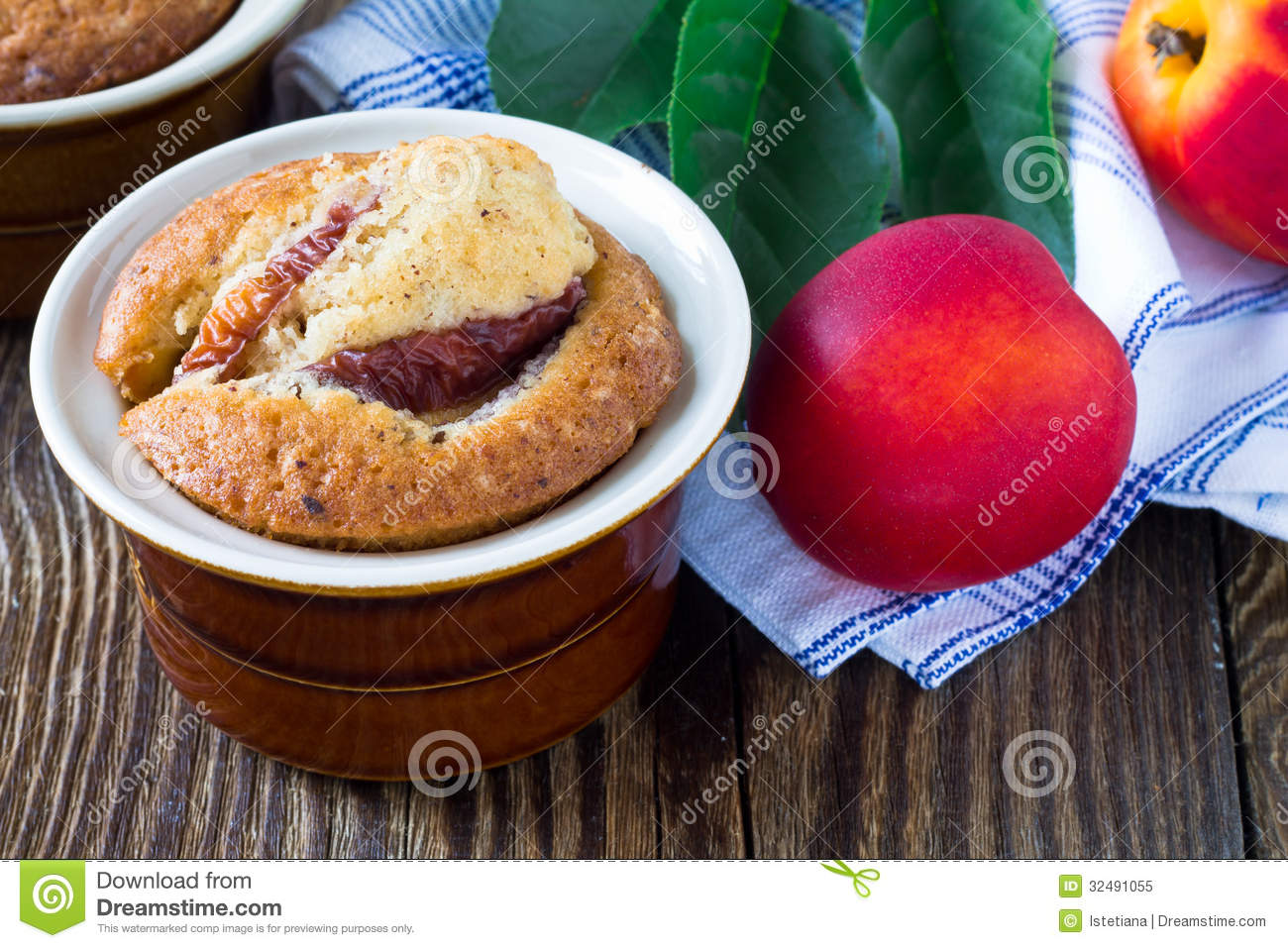 Homemade peach cake in a ramekin