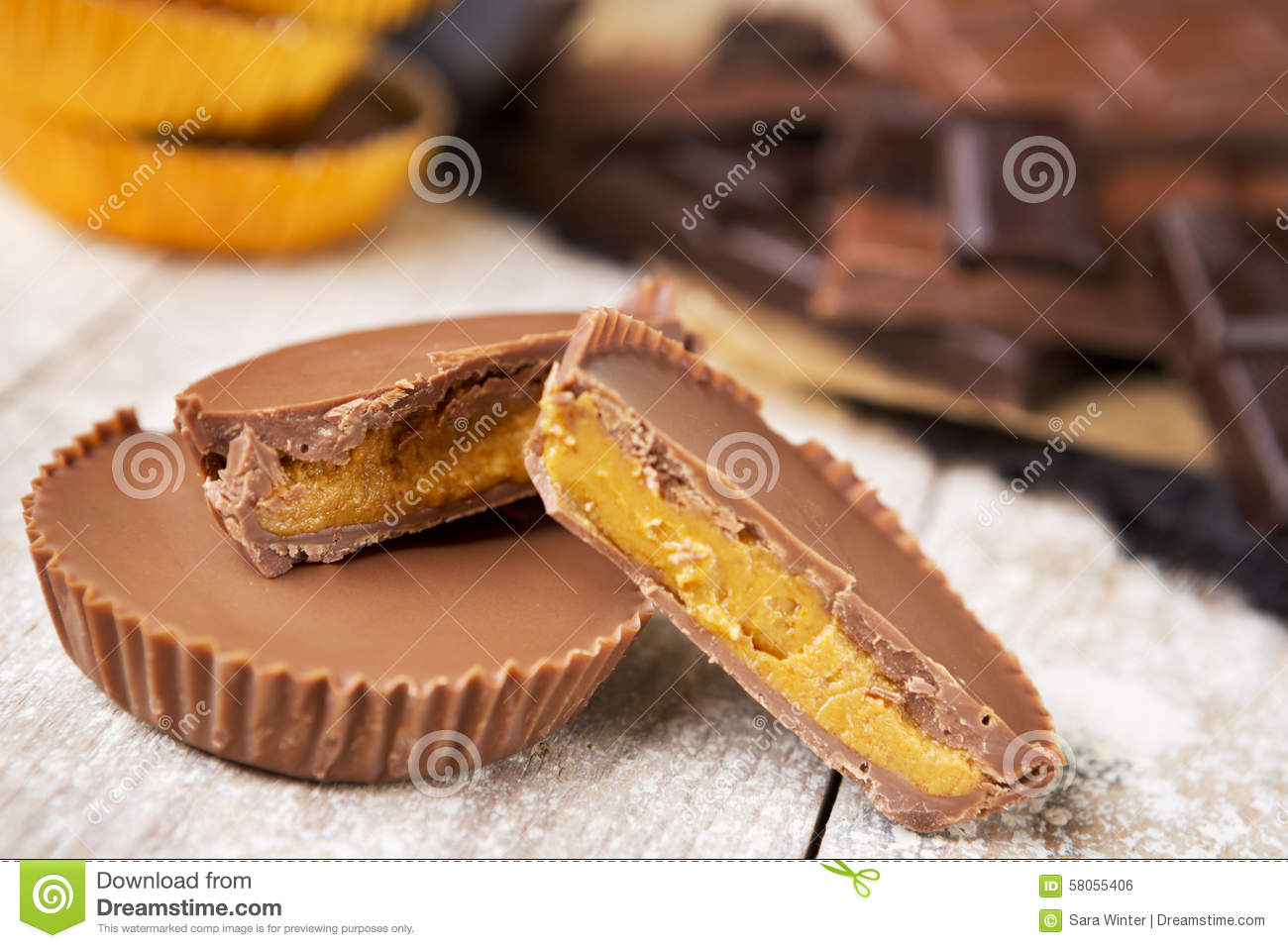 Homemade peanut butter cups on a rustic table