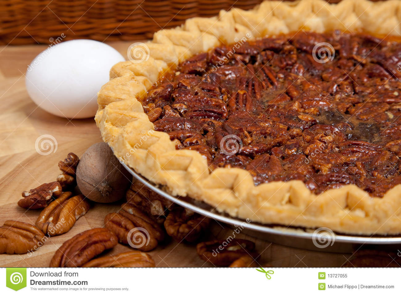Homemade Pecan Pie With Ingredients Royalty Free Stock Photo ...