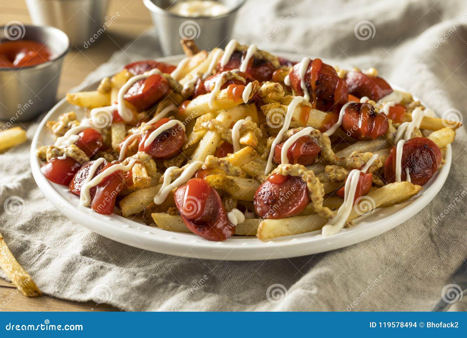 Homemade Peruvian Salchipapa Fries Stock Photo Image Of Chips