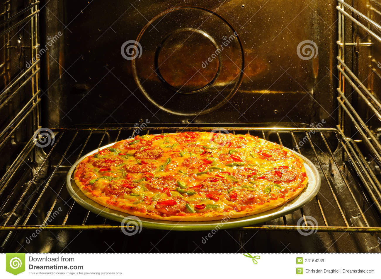 homemade pizza in oven stock image image of home pepperoni 23164289. Black Bedroom Furniture Sets. Home Design Ideas