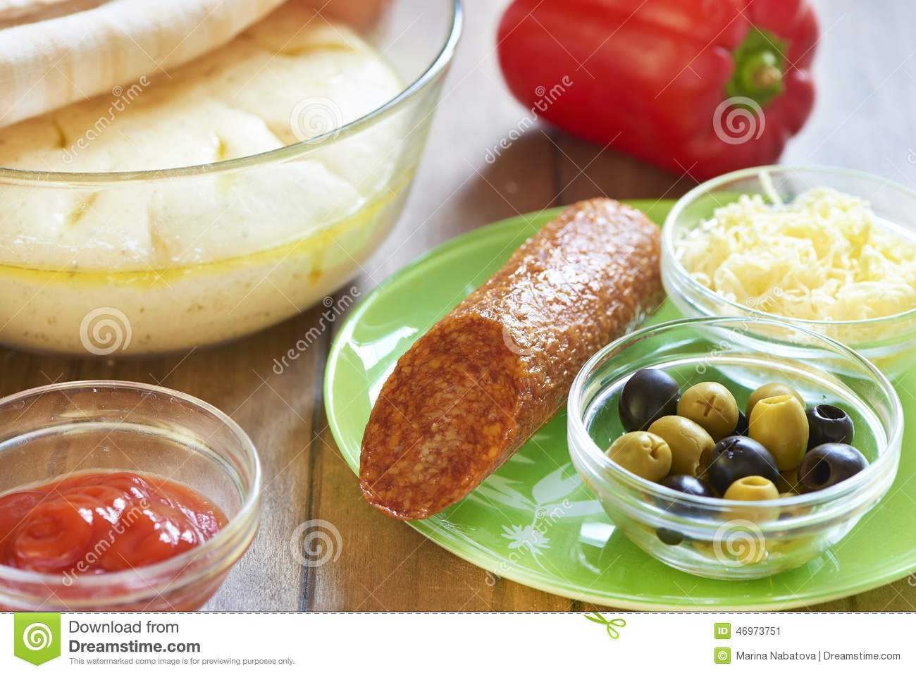 Download Homemade Pizza With Pepperoni, Pepper And Olives. Cooking Process. Step 4. Ingredients For Pizza Stock Image - Image of cheese, delicious: 46973751
