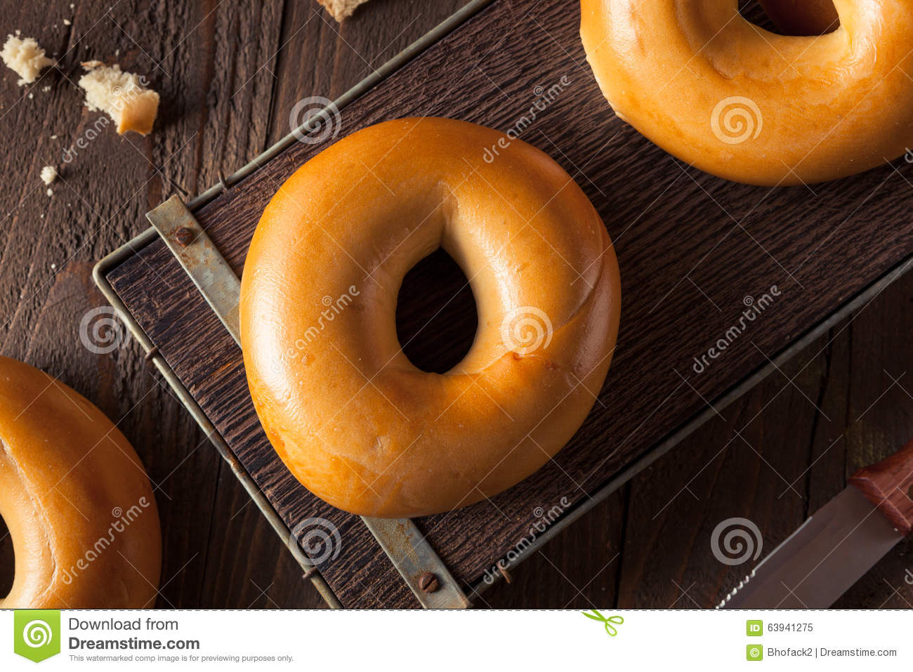 Homemade Plain Egg Bagels Stock PhotoImage63941275