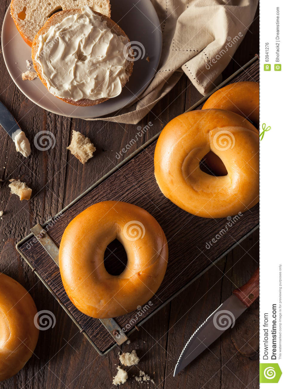Homemade Plain Egg Bagels Stock PhotoImage63941276