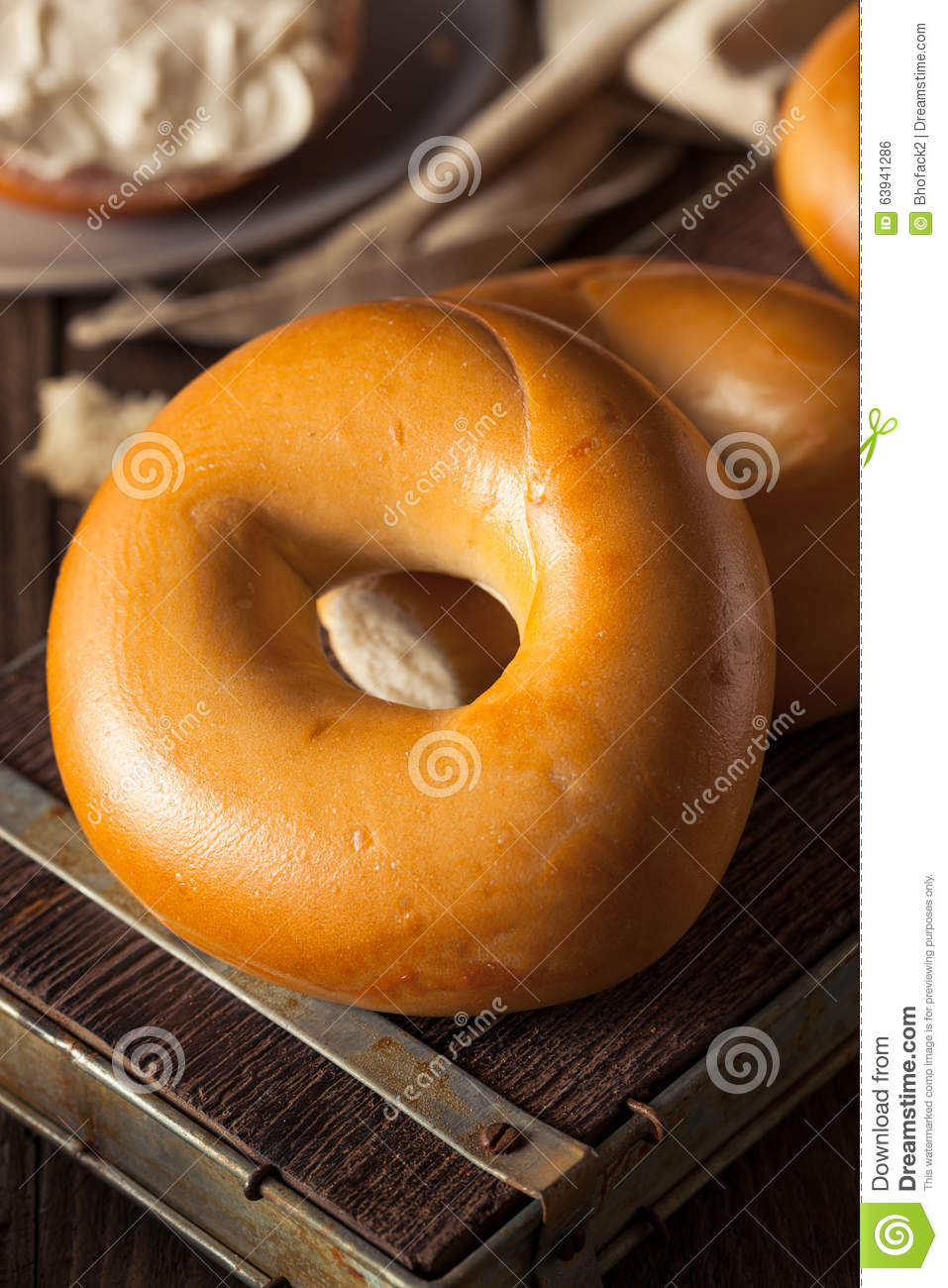 Homemade Plain Egg Bagels Stock PhotoImage63941286
