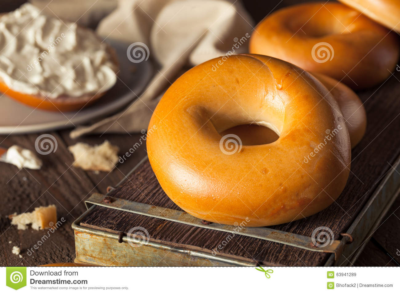 Homemade Plain Egg Bagels Stock PhotoImage63941289