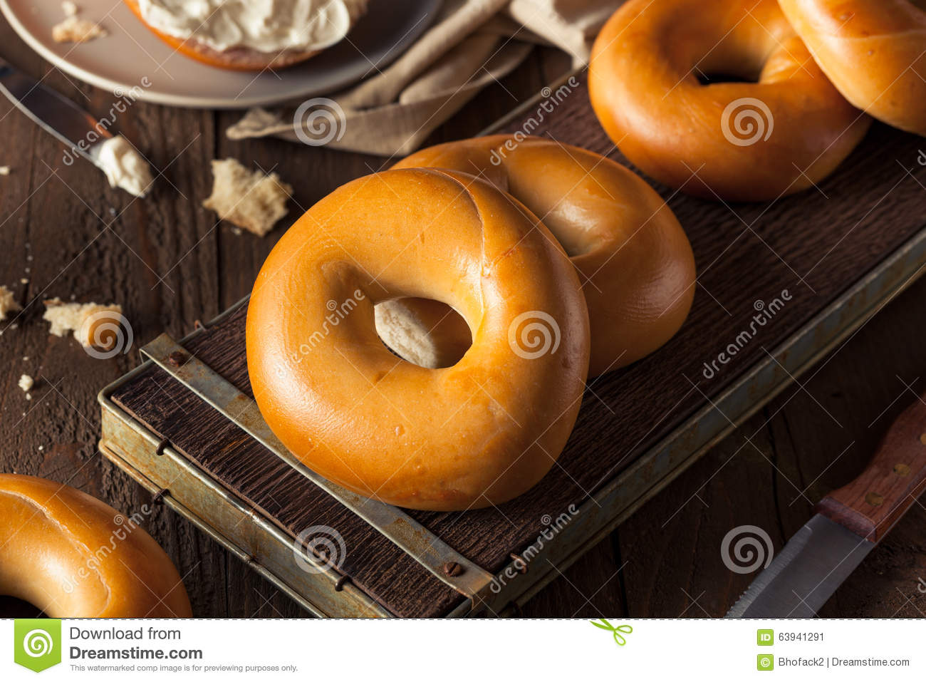 Homemade Plain Egg Bagels Stock PhotoImage63941291