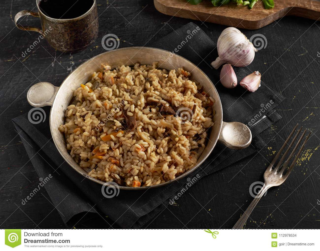 Homemade risotto in a pan