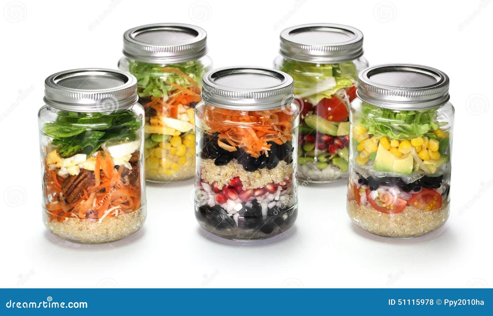 Homemade salad in glass jar