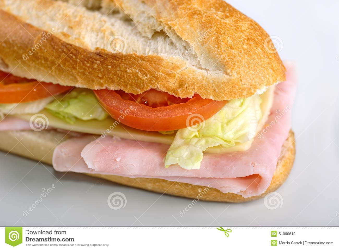 Sandwich with salad ham cheese and tomatoes stock for Baguette pain maison