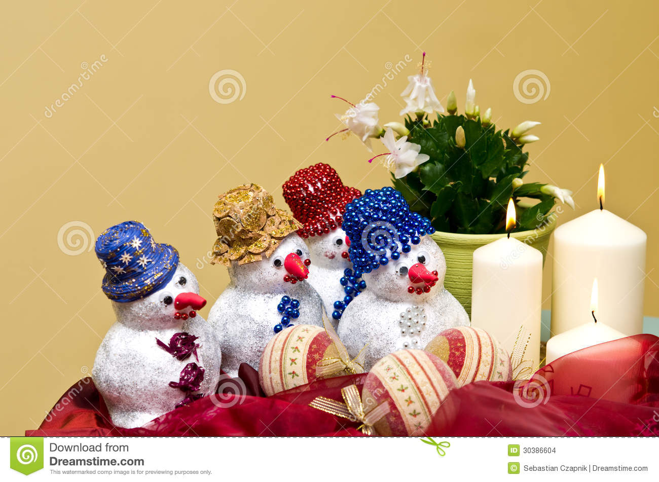 Homemade snowmen decorations stock photo image 30386604 for Special xmas decorations