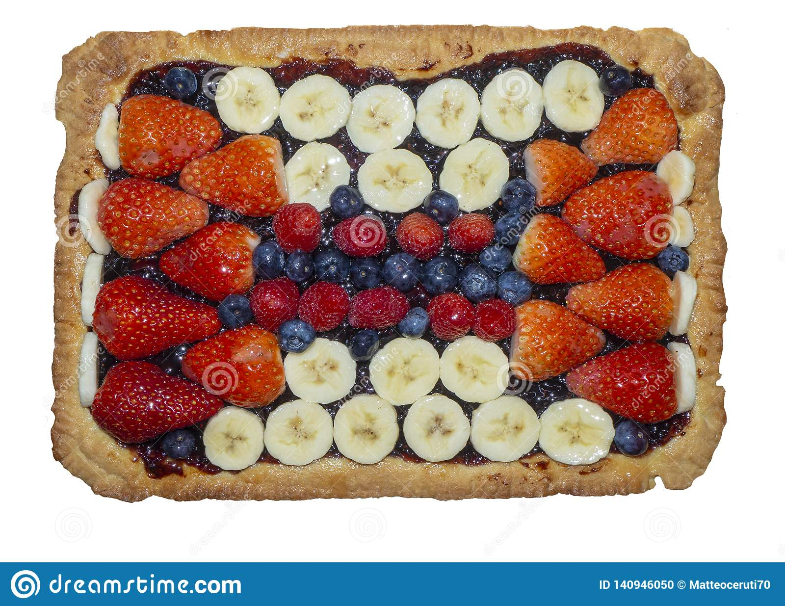 Homemade tart with fresh fruit, strawberries, bananas, blueberries and raspberries