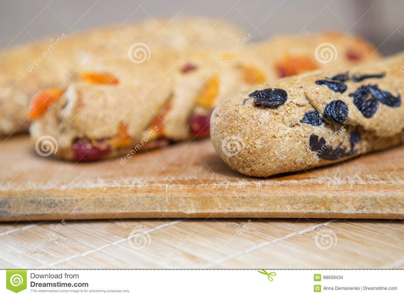 homemade tasty biscotti with raisins and dried fruits italian t