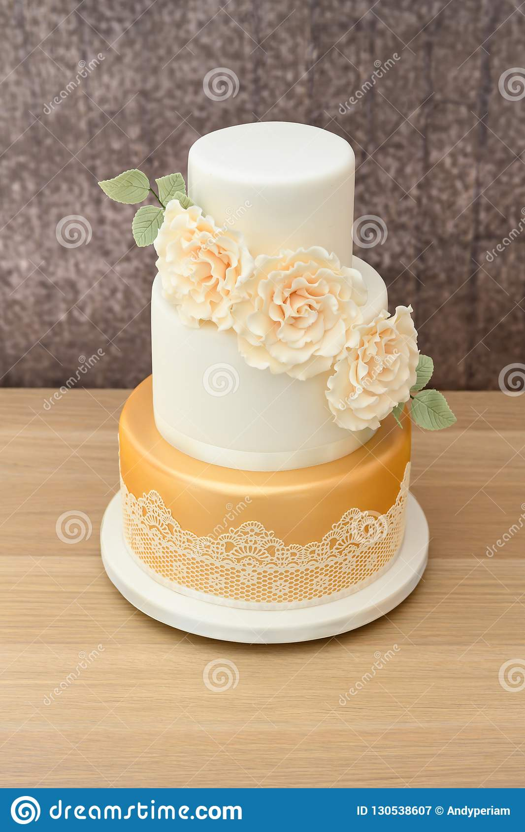3 Tier Wedding Cake Stock Image Image Of Frosting Event 130538607