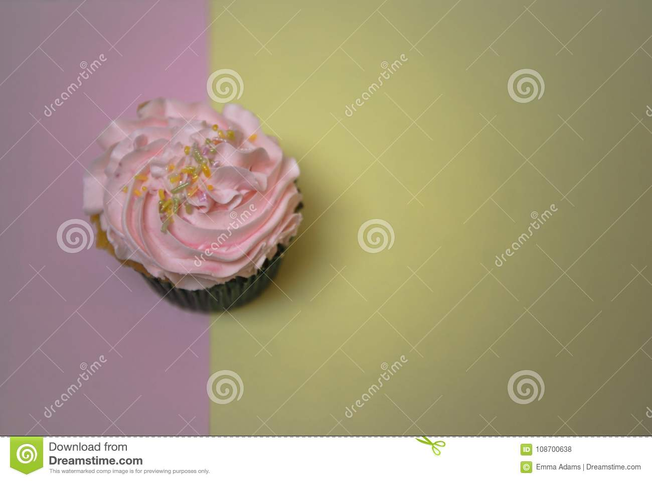 Overhead View Food Photography Of Homemade Cupcake With Pink