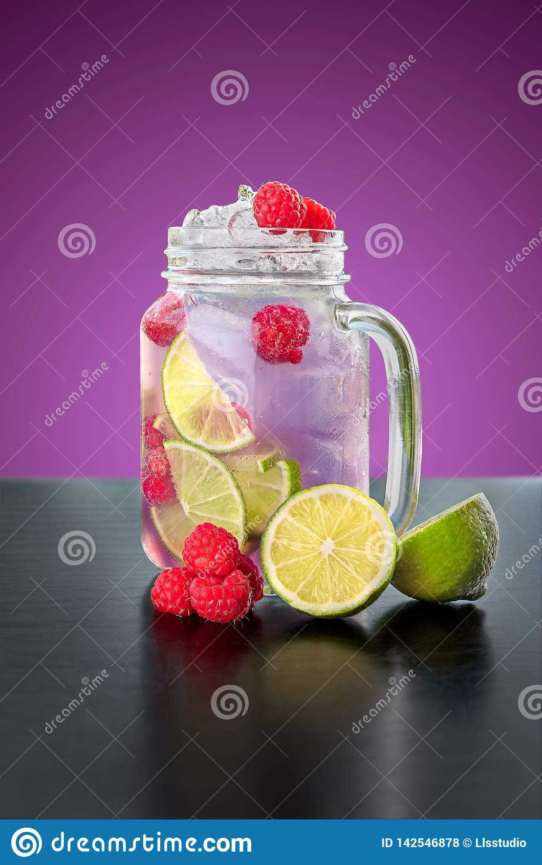 Homemade Violet Lemonade in a glass jar.