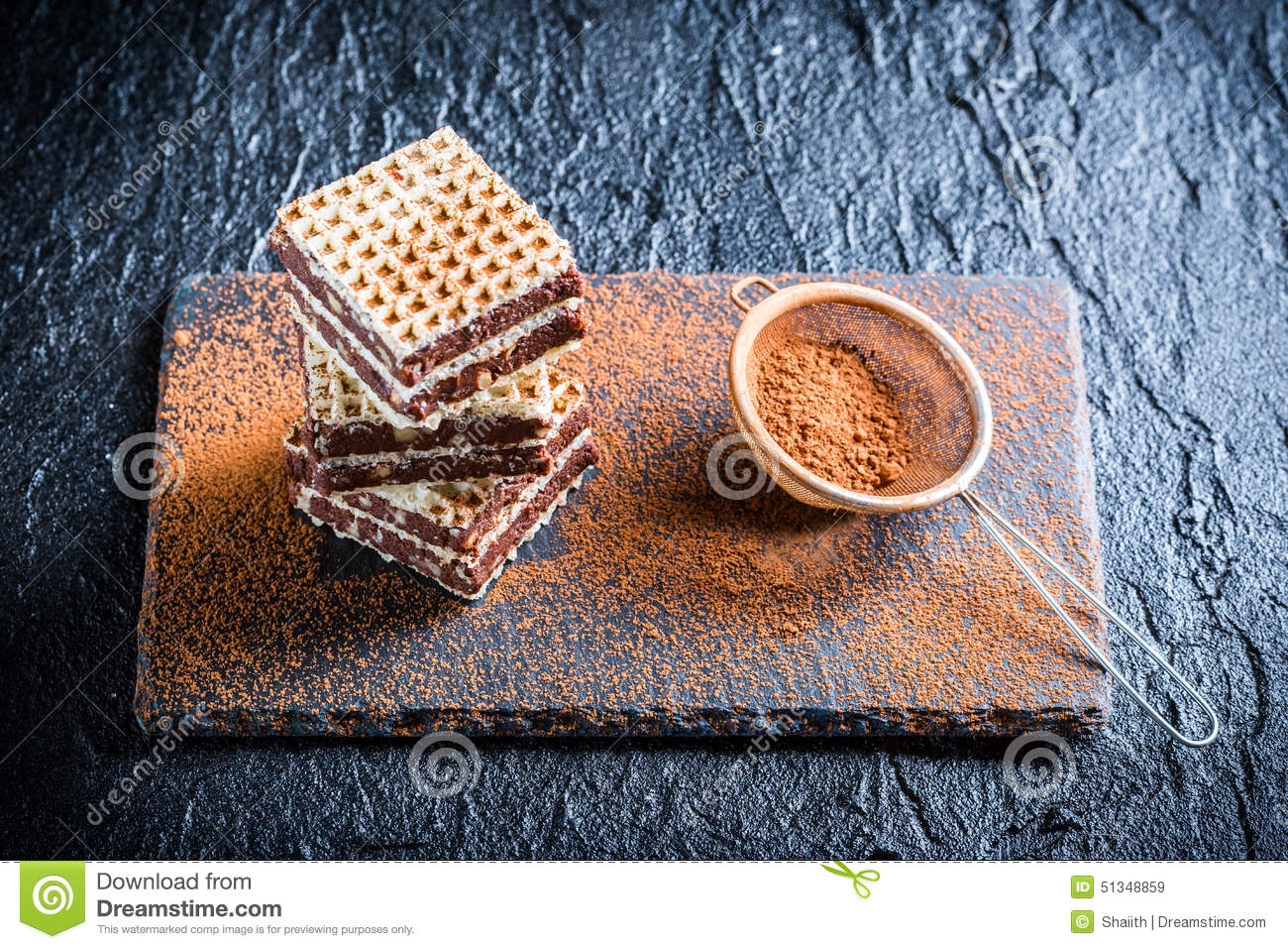 Homemade Wafers With Nuts And Chocolate Stock Photo - Image: 51348859