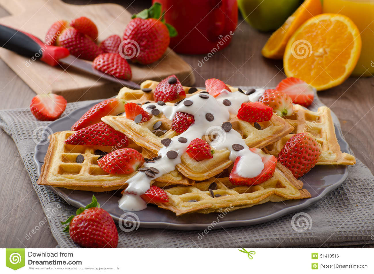 Homemade Waffles With Maple Syrup And Strawberries Stock ...