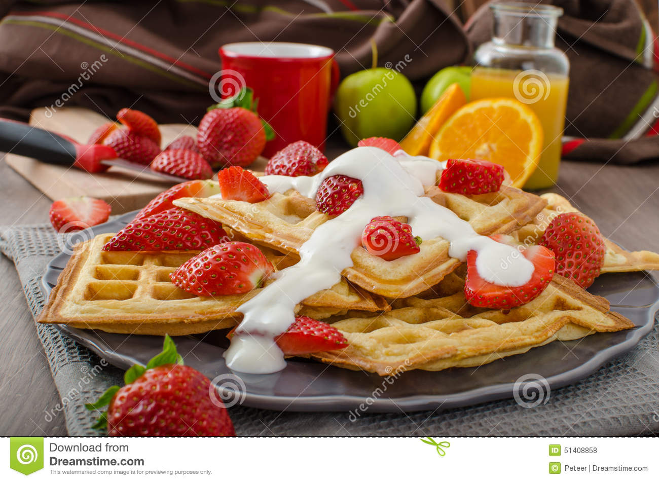Homemade Waffles With Maple Syrup And Strawberries Stock Photo - Image ...