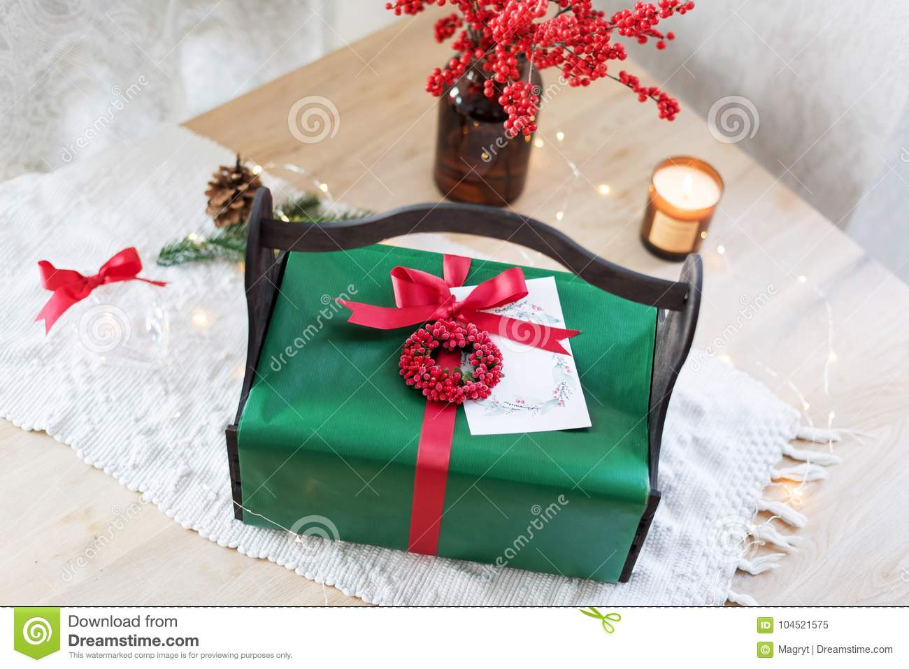homemade wrapped christmas present with tools and decorations top view packing christmas gifts
