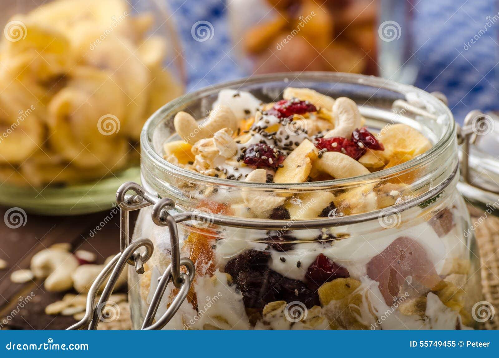 Homemade Yogurt With Granola, Dried Fruit And Nuts Bio ...