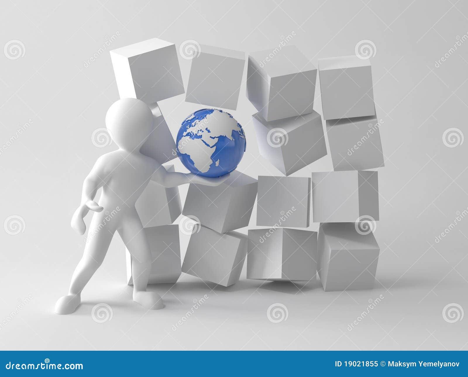 Homens com terra em umas caixas. 3d