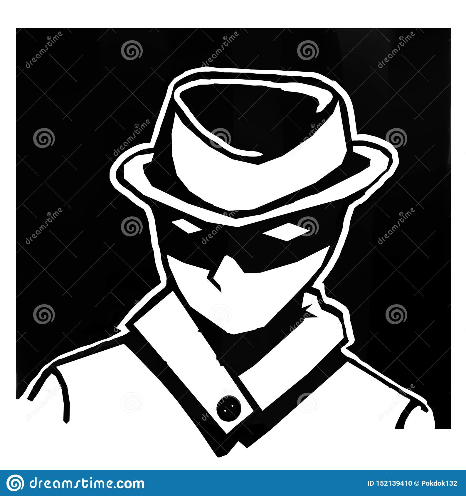 Homens do fundo do preto do espião com um chapéu misterioso