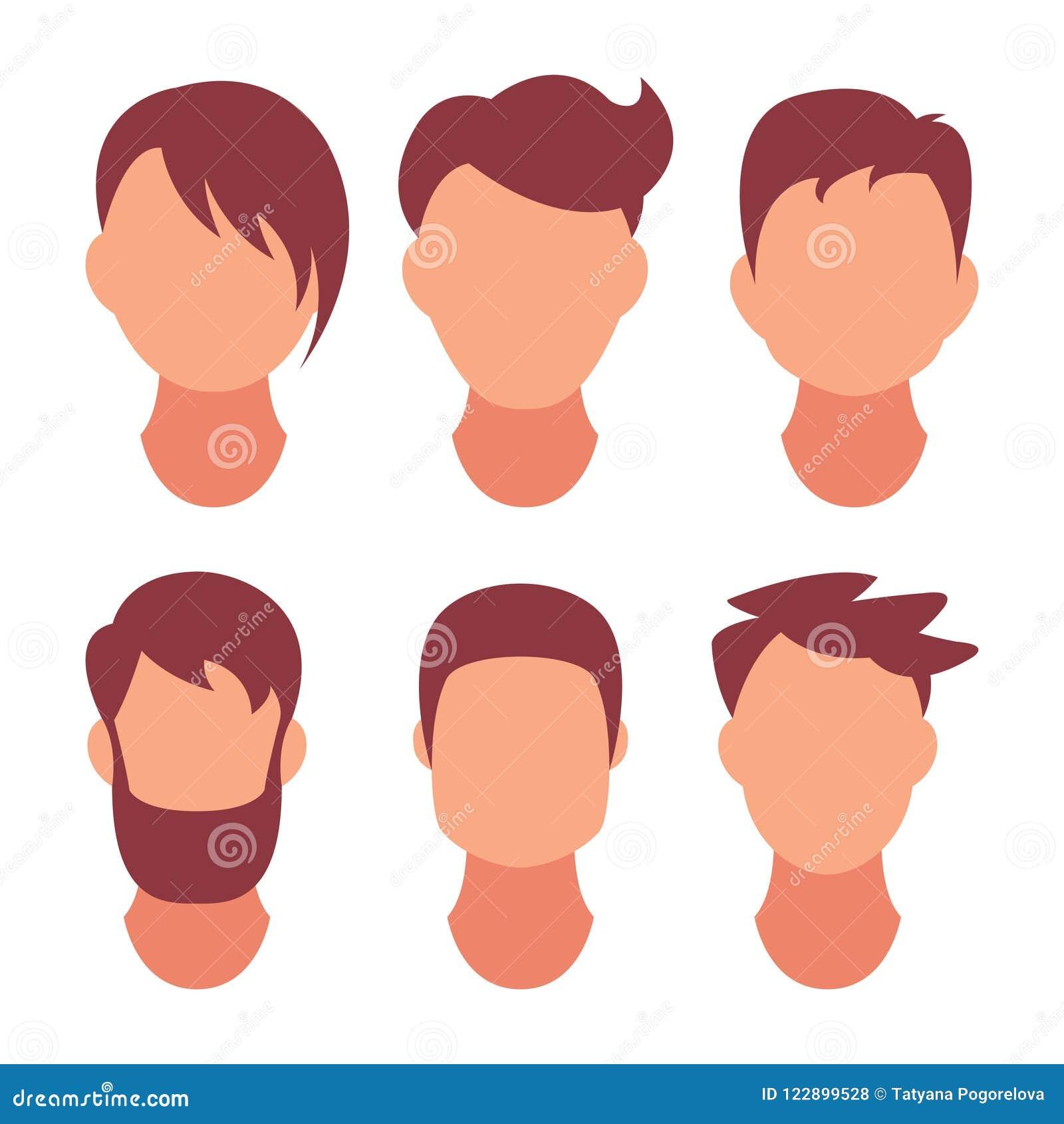 Homens do penteado Cabelo clássico e elegante Salão de beleza dos penteados para um penteado Ícone do vetor no grupo isolado no b