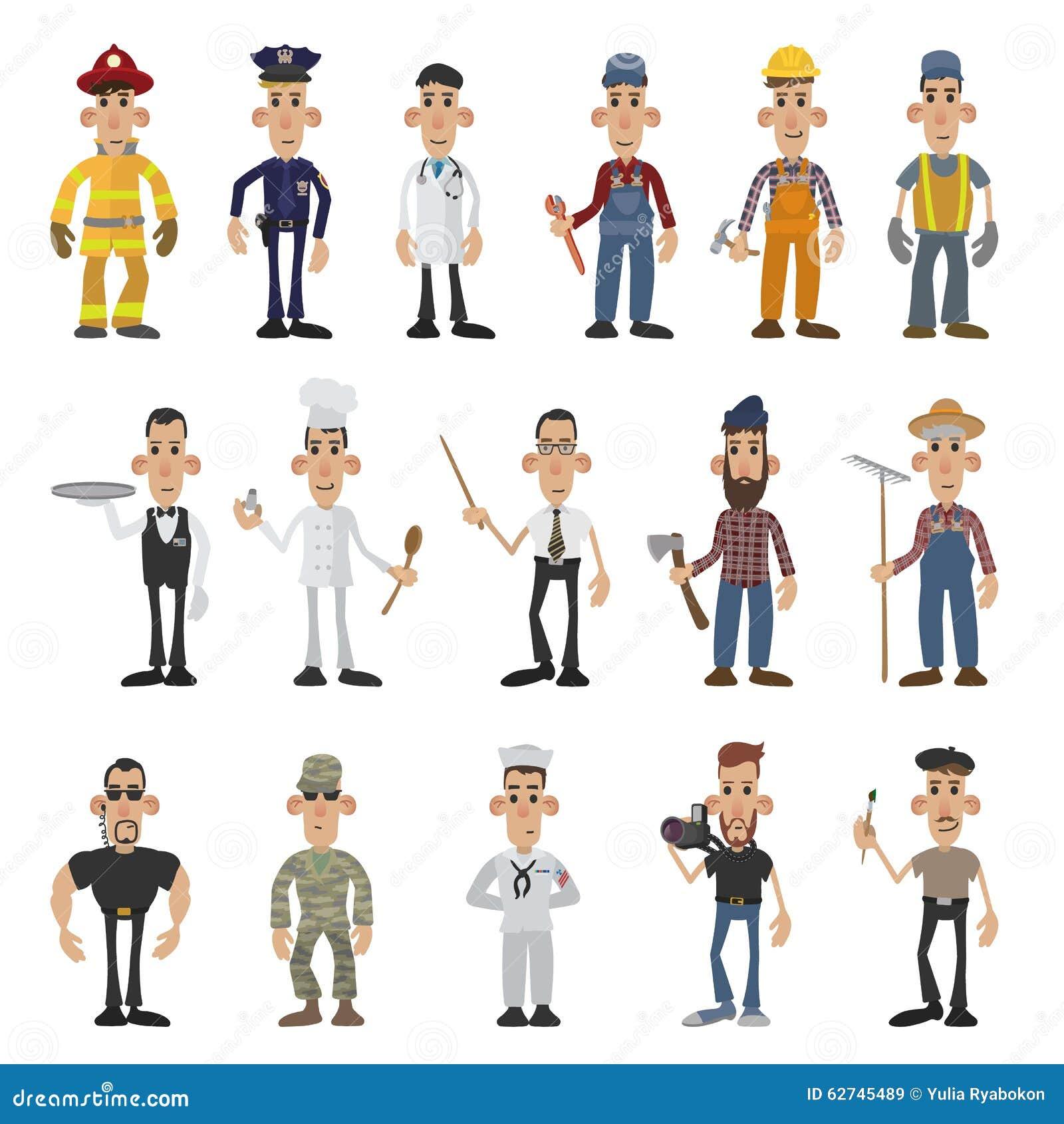 Homens Dos Desenhos Animados De 16 Profissões Diferentes
