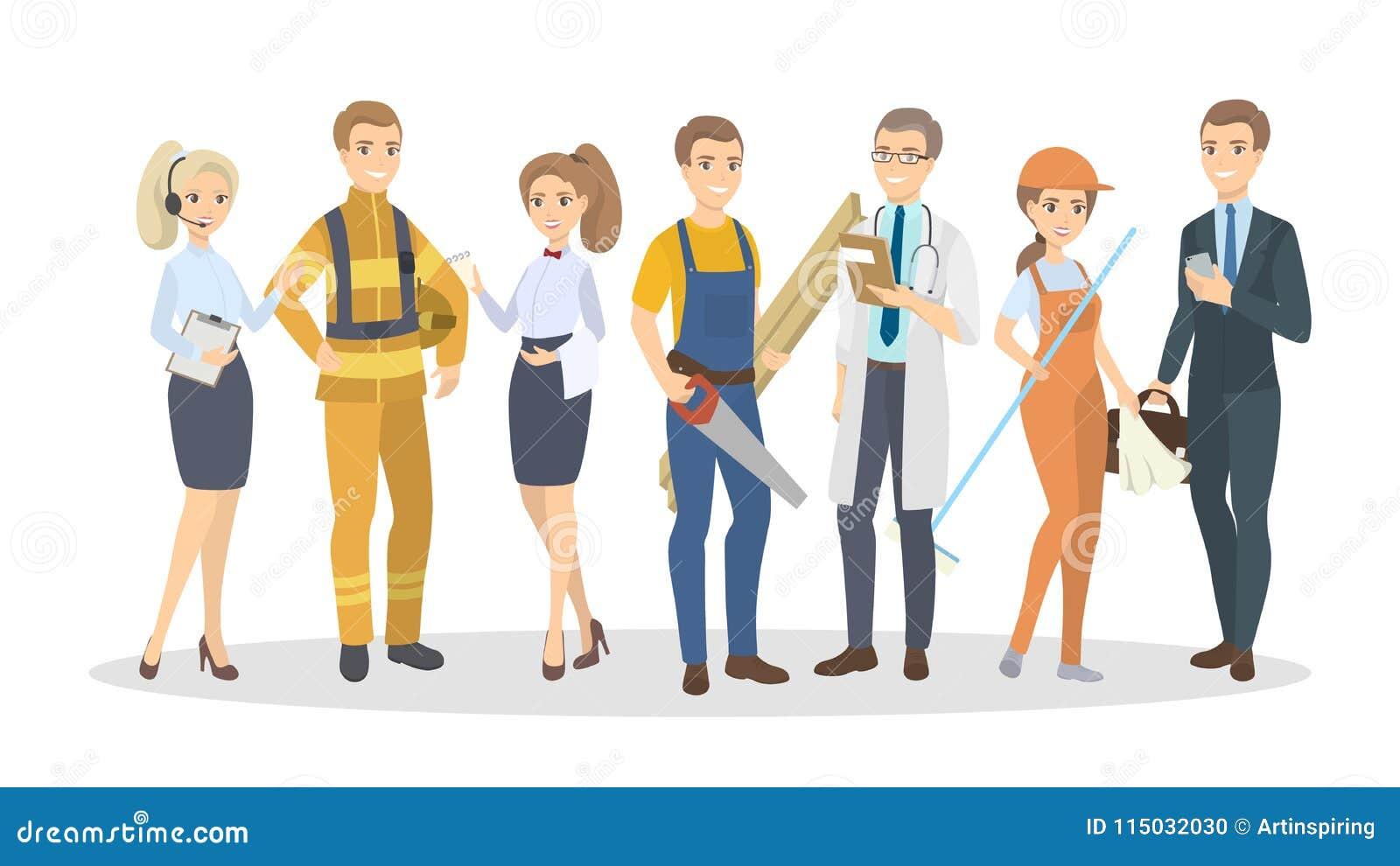 Homens e mulheres das profissões