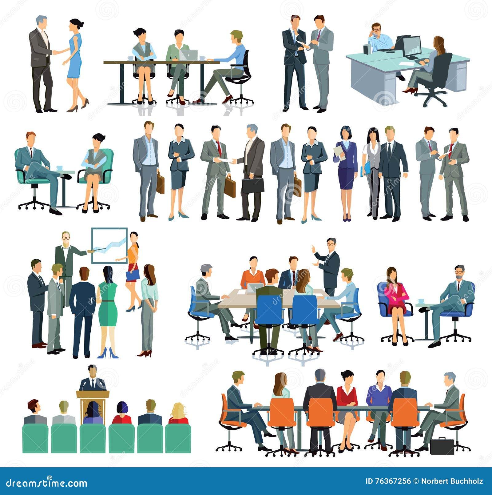 Homens e mulheres de negócio que interagem