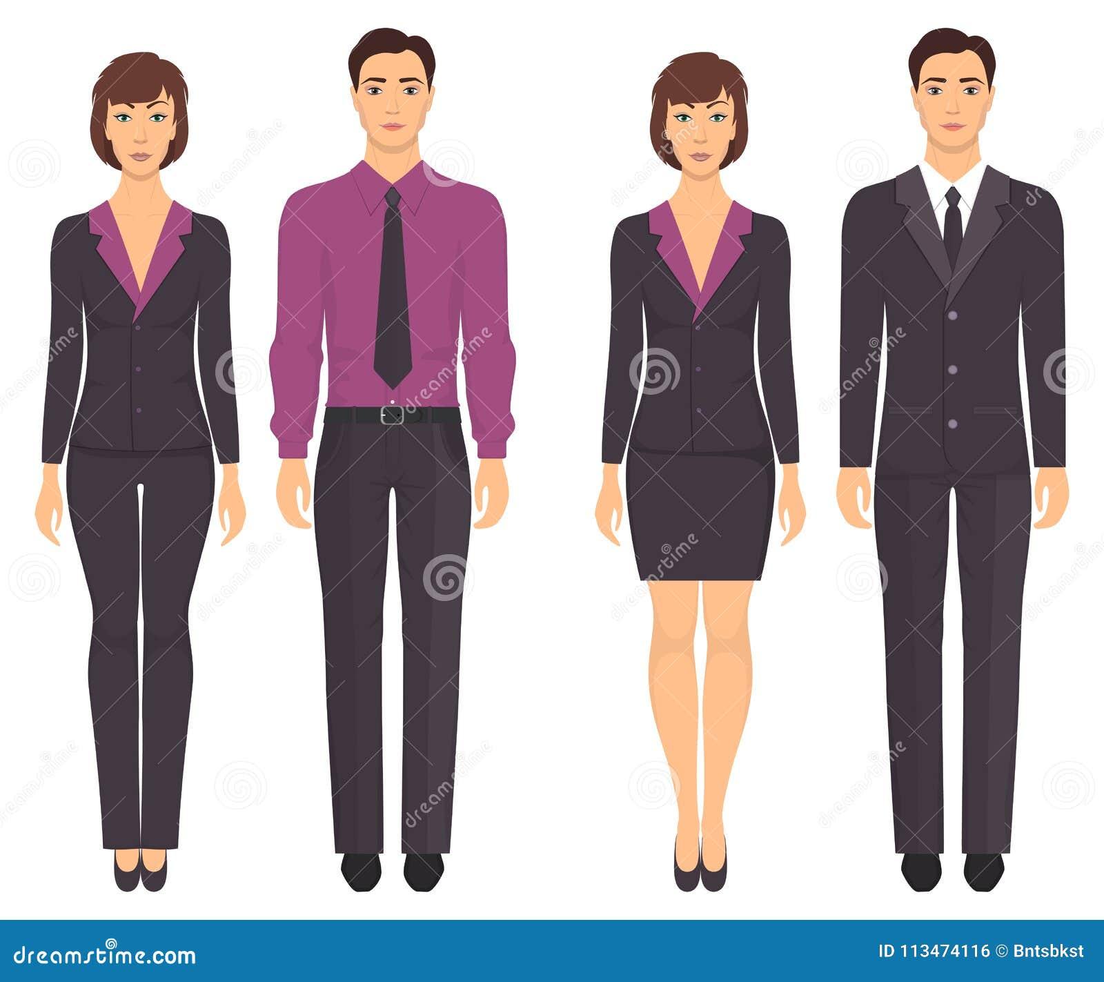 4d2a9646c Homens e mulheres que estão no crescimento completo na roupa formal Pares  na roupa elegante e ocasional Vestuário básico Ilustração do vetor