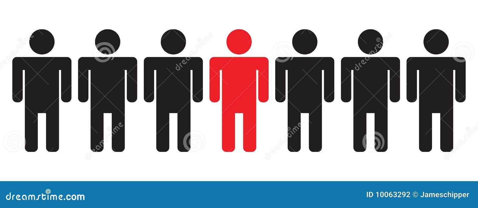 Homens em uma linha