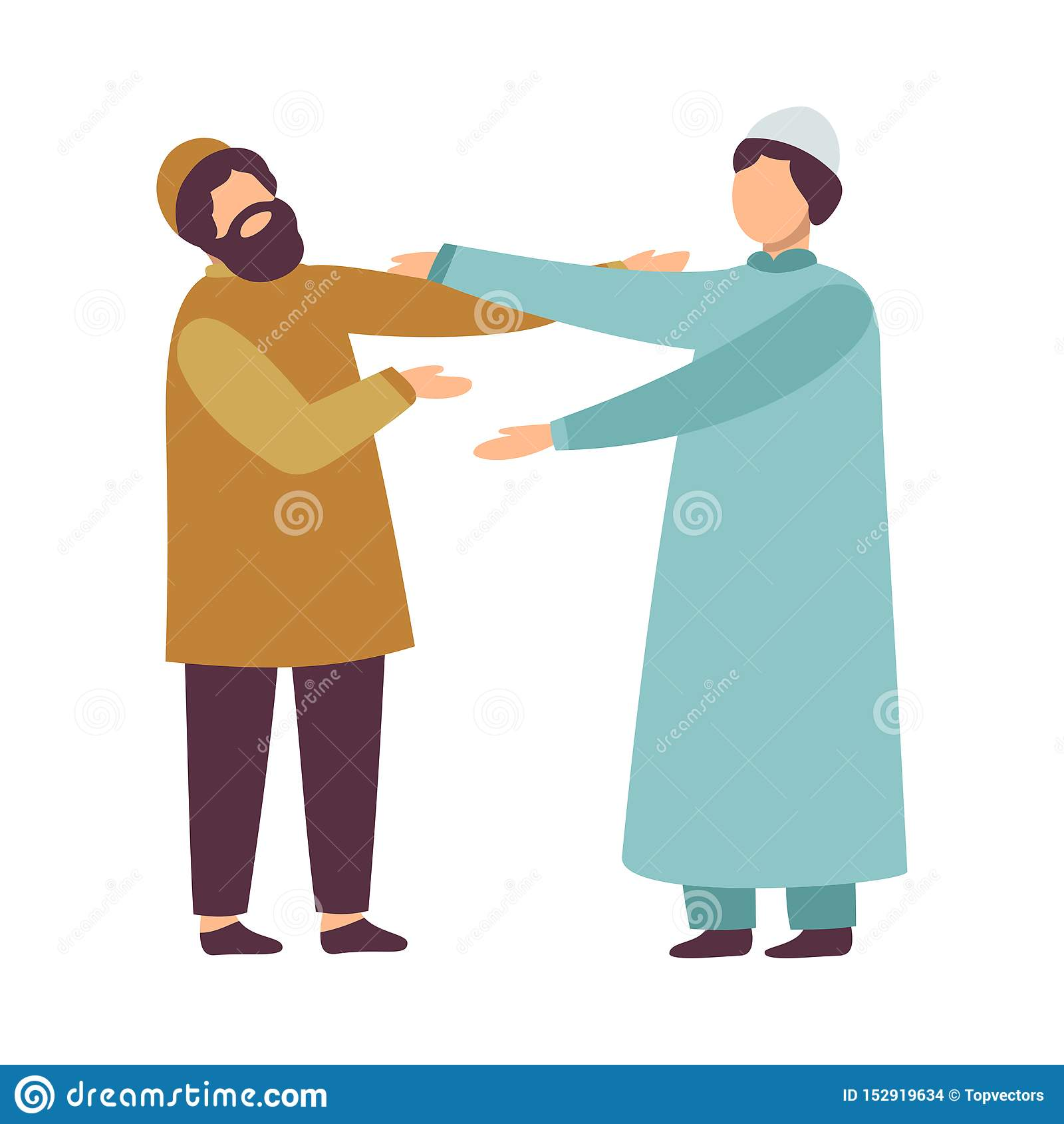 Homens muçulmanos na roupa tradicional que cumprimentam-se como eles que comemoram Eid Al Adha Islamic Holiday Vetora
