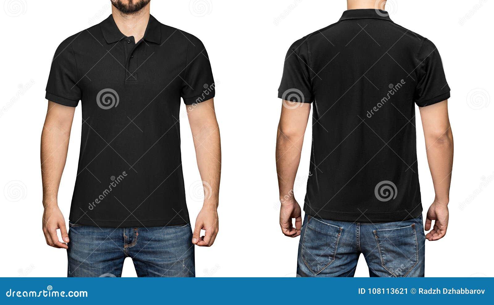 Homens no polo preto vazio, na parte dianteira e na vista traseira, fundo branco Projete o polo, o molde e o modelo para a cópia