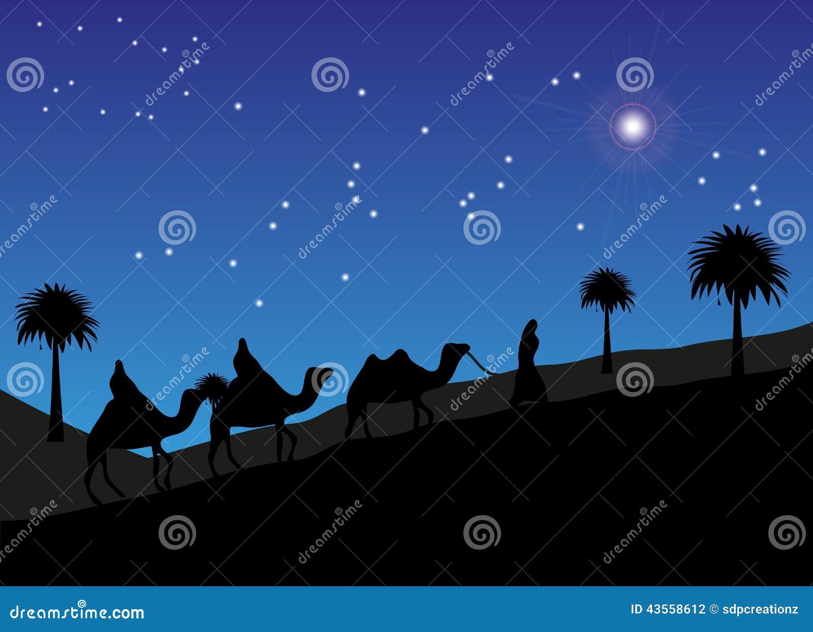 Homens sábios que seguem a estrela a Bethlehem