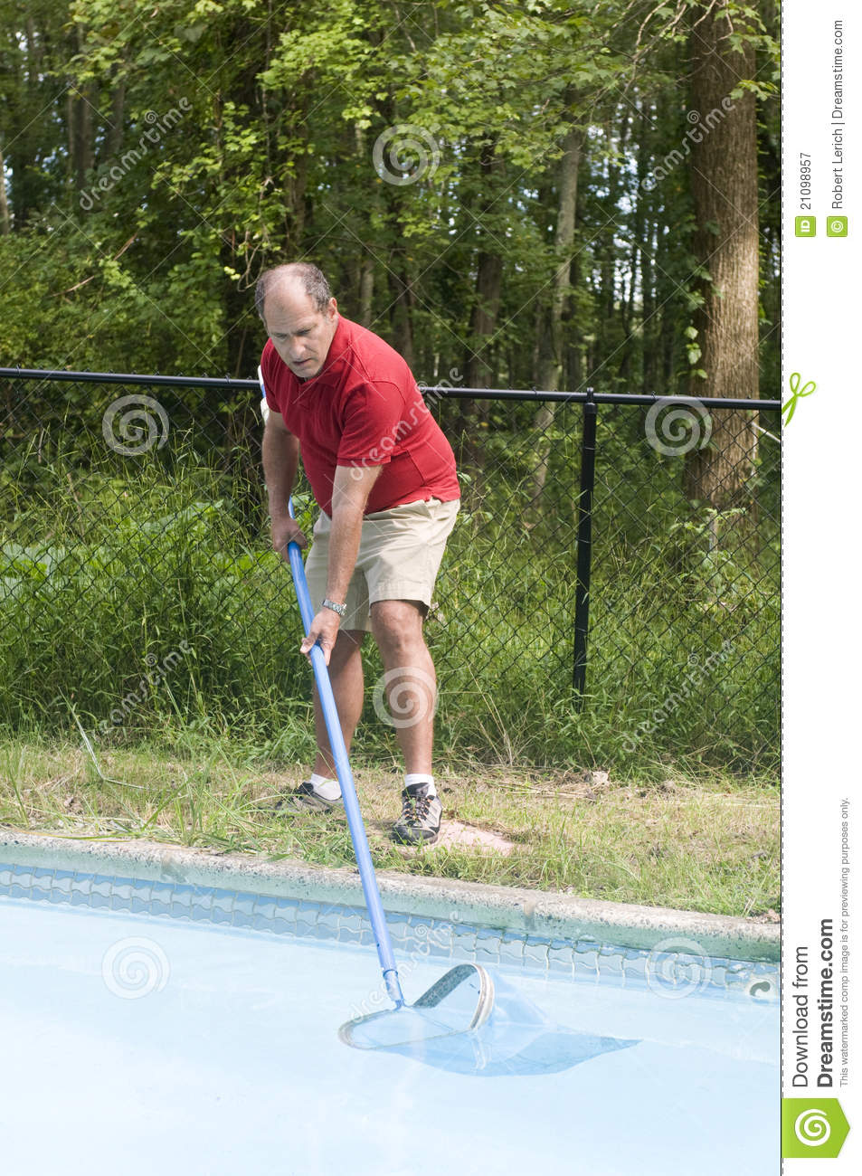 Homeowner Cleaning Swimming Pool Stock Image Image Of