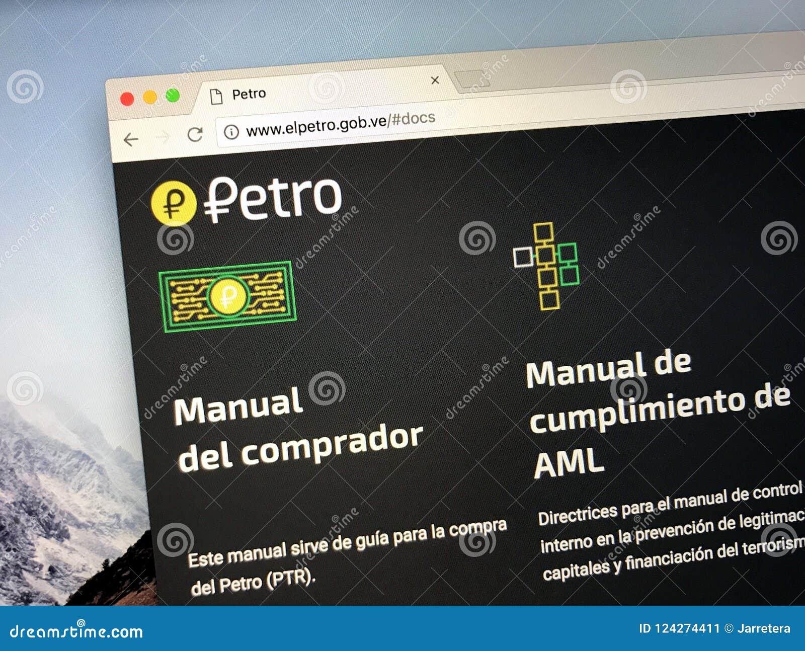 Homepage av det Petro myntet