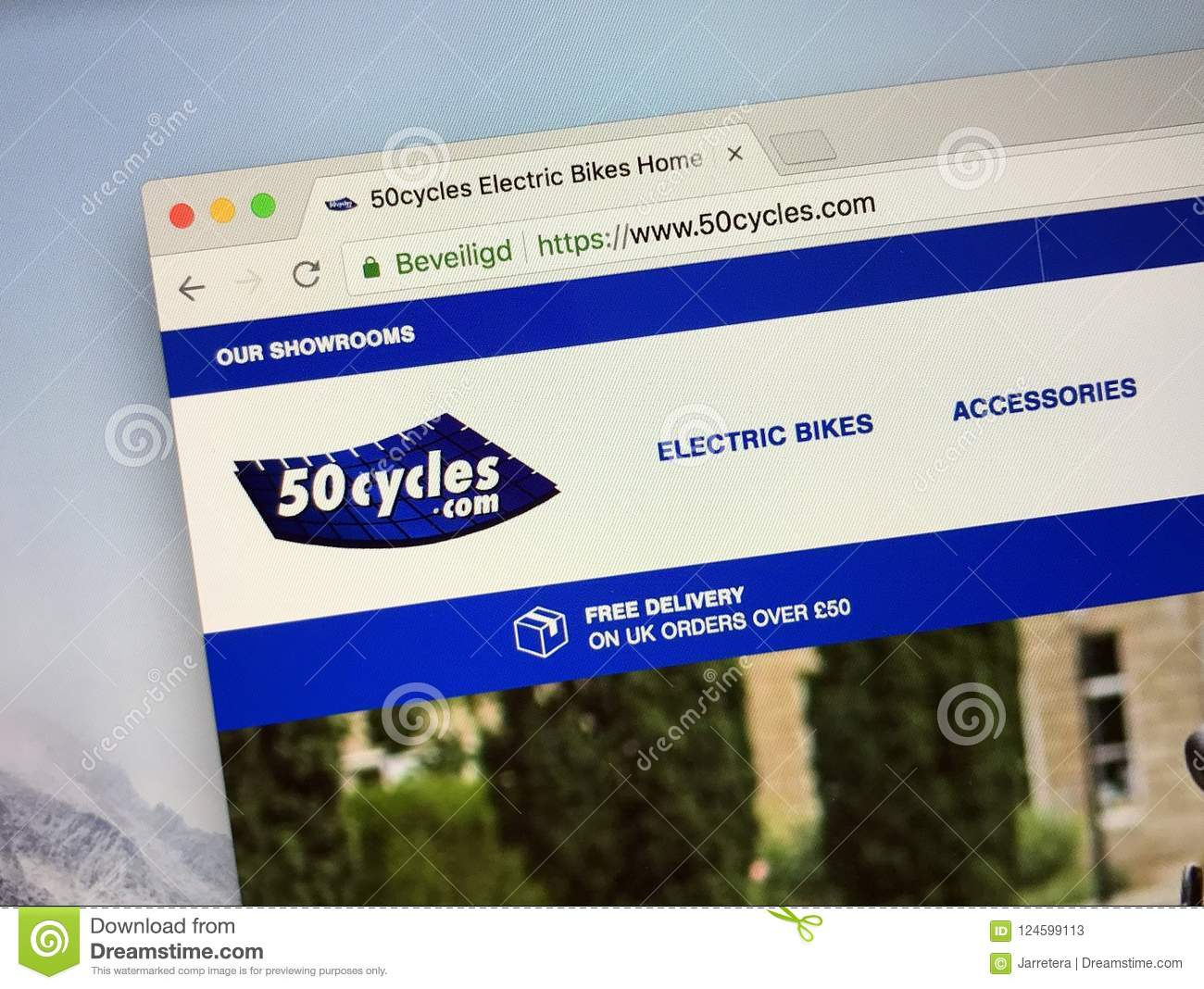 Homepage of 50cycles Electric Bike shop
