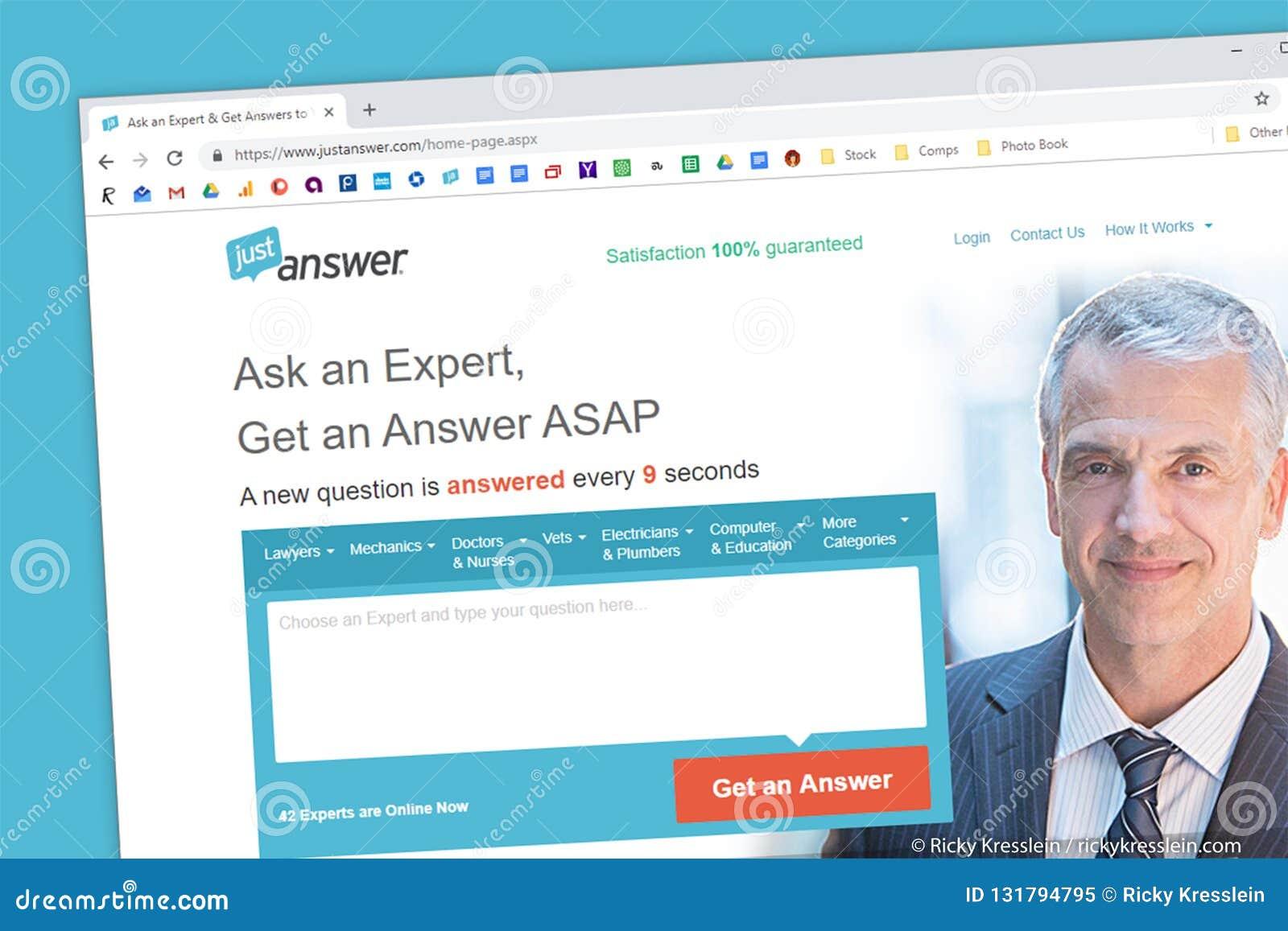 Homepage de la página web de JustAnswer Pida y experto ayuda en tecnología, ordenadores, ley, valoraciones