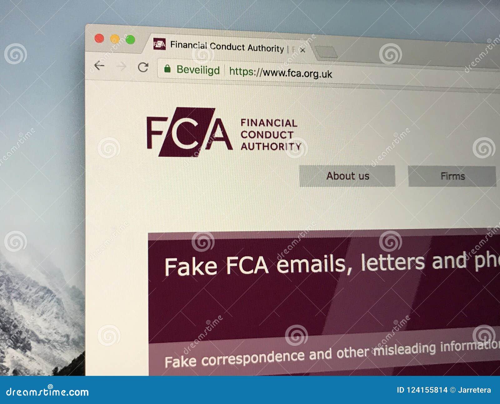 Homepage dell autorità finanziaria di comportamento di U k