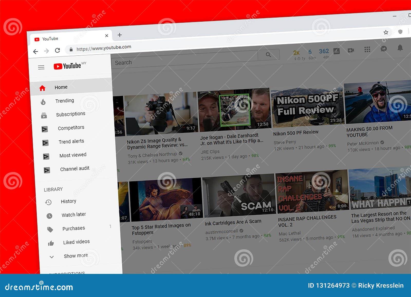 Homepage do Web site de Youtube com sidebar
