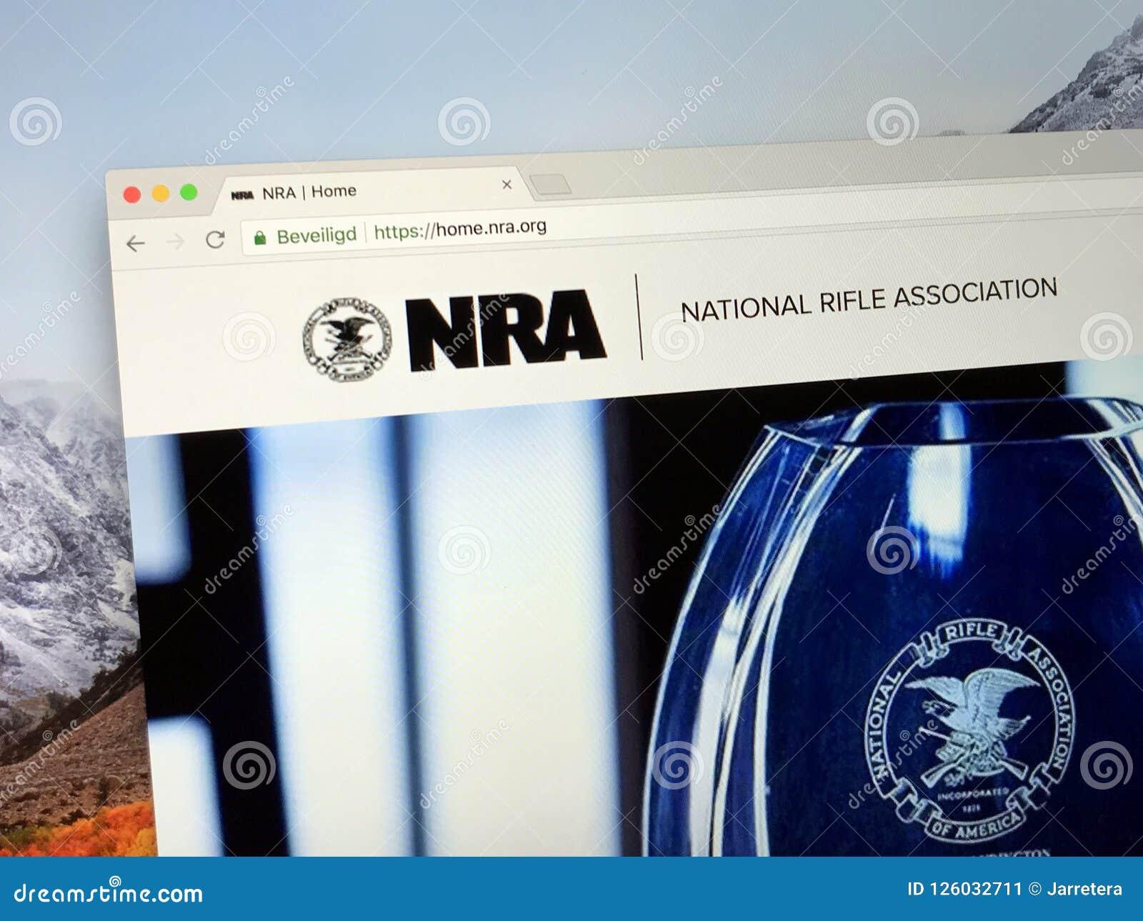 Homepage van de Nationale Geweervereniging van NRI van Amerika