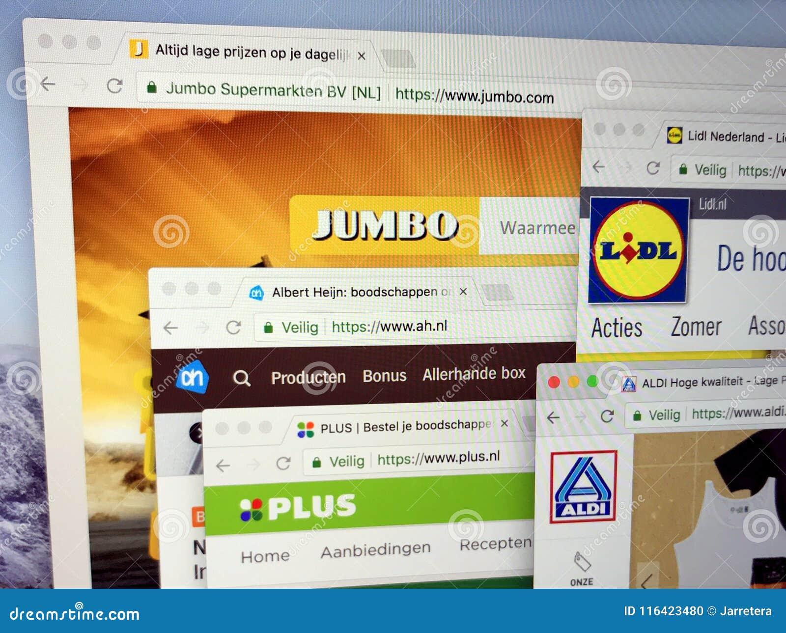 Homepages Of Albert Heijn Ah Aldi Plus Lidl And Jumbo Editorial