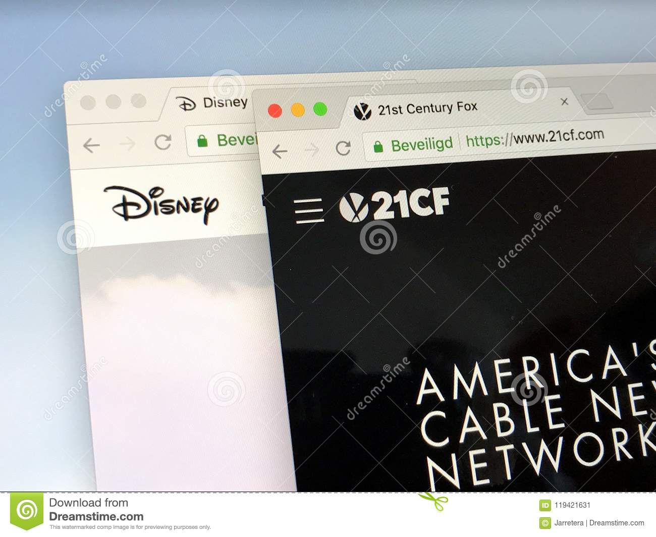 Homepages Of Disney And 21st Century Fox Editorial Photo Image Of