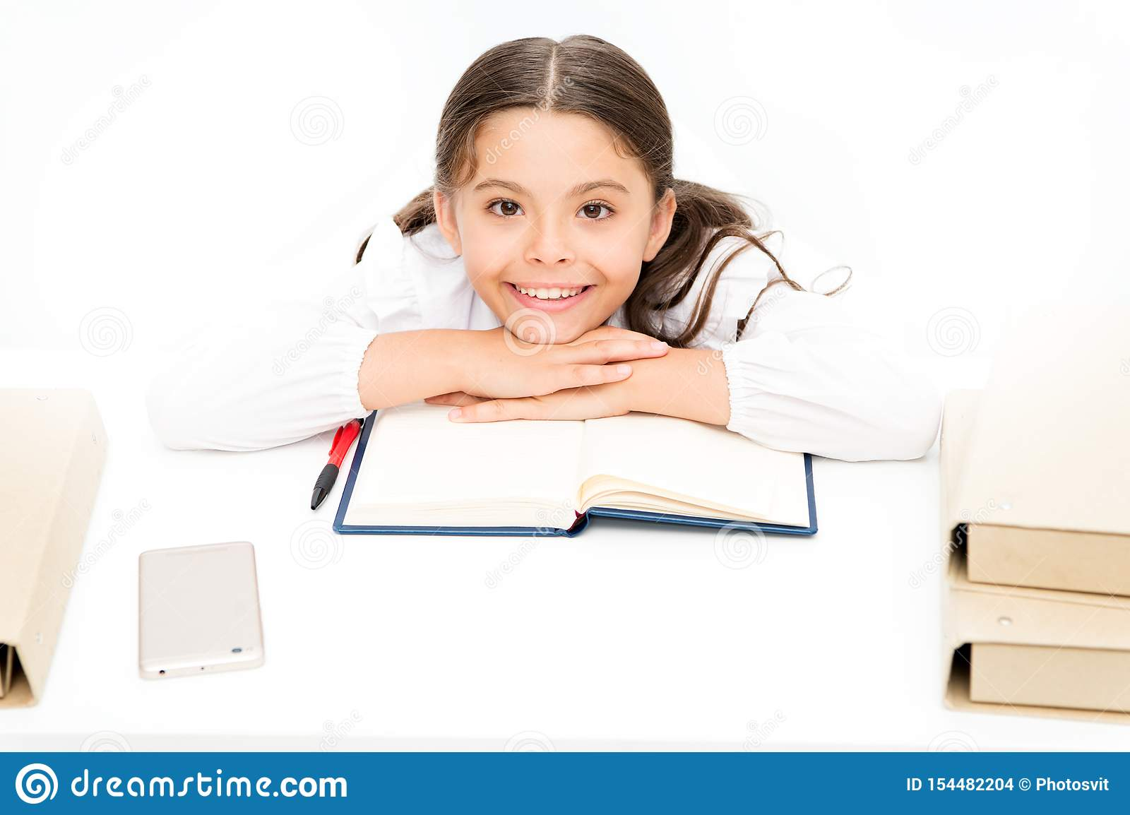 Homeschooling. dictionary notebook. Get information. cheerful girl with workbook. Education. reading story. childrens