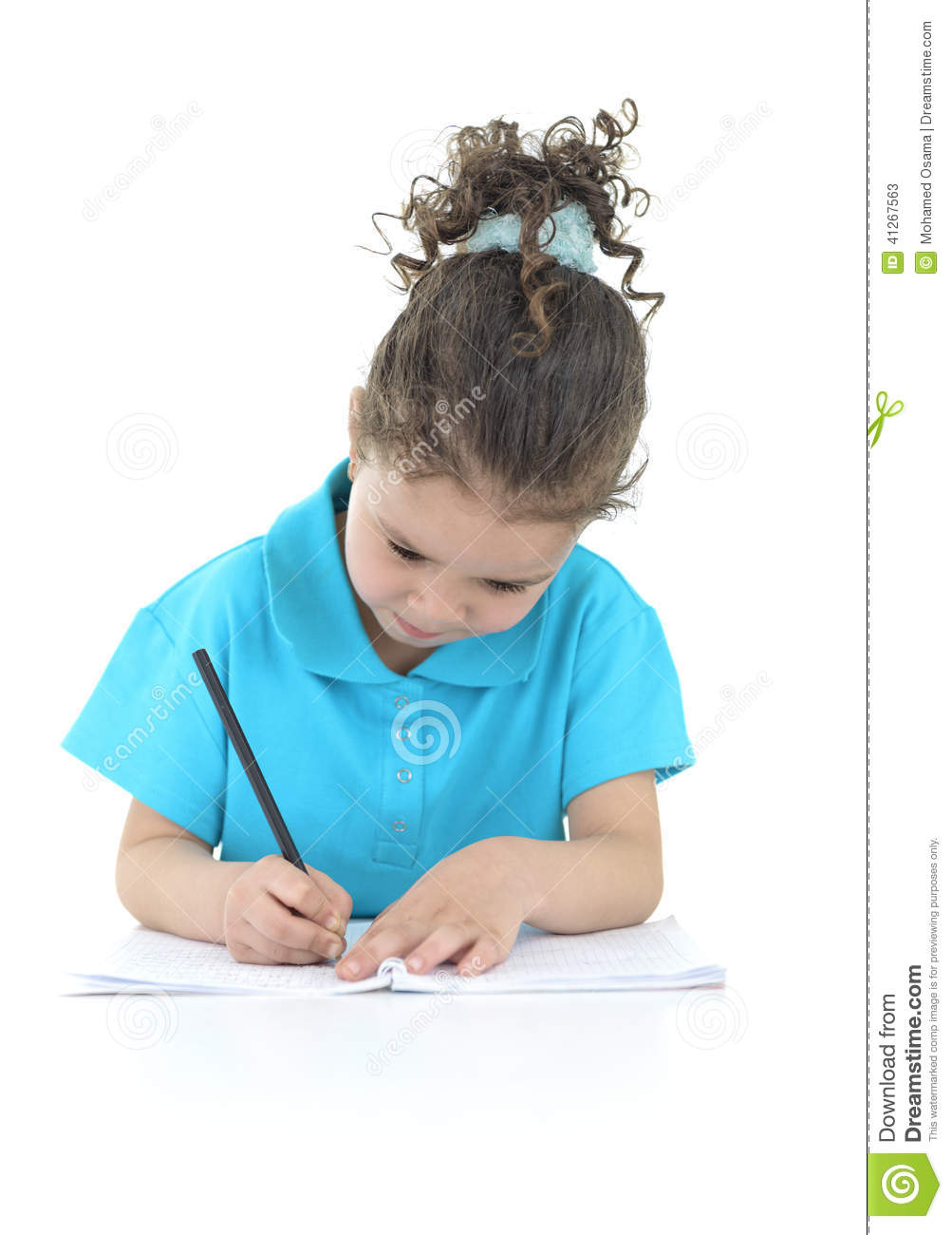 Little Girl Doing Her Homework Isolated on White Background.