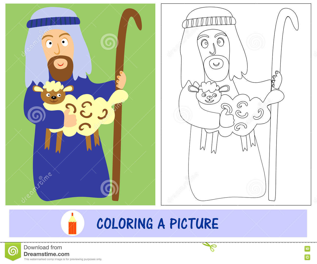 Homework For Kids How To Paint A Shepherd With Lamb. Sunday School ...