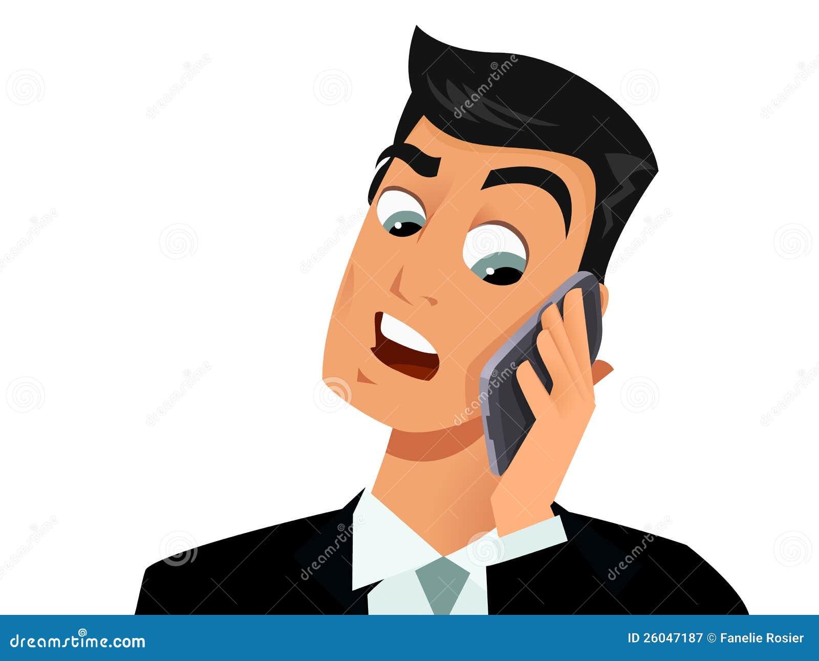 Homme étonné au téléphone
