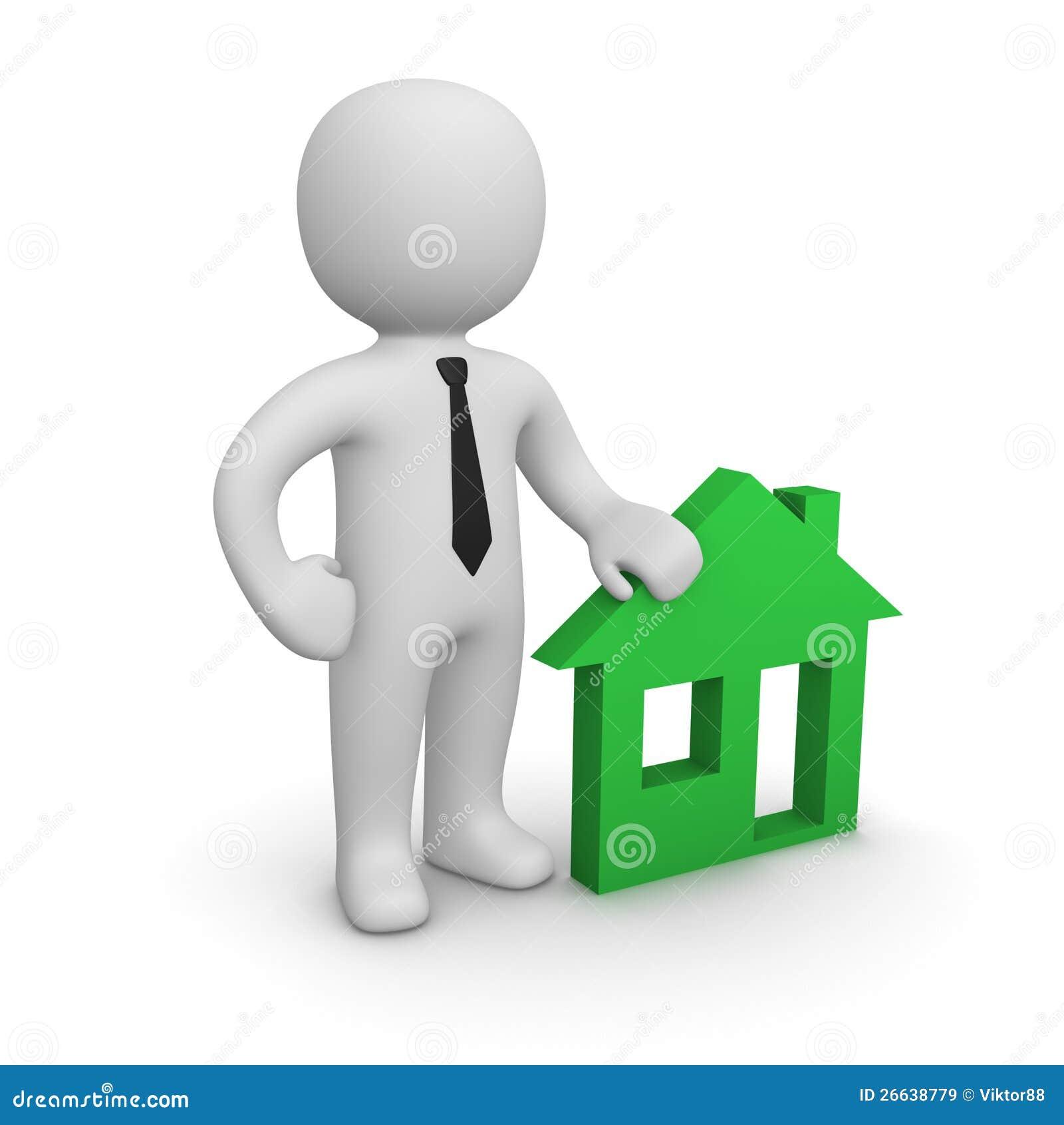 Homme 3d avec l emblème de maison